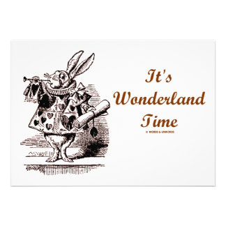 It's Wonderland Time White Rabbit With Trumpet Personalized Announcement