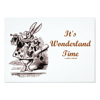 It's Wonderland Time White Rabbit With Trumpet 5x7 Paper Invitation Card