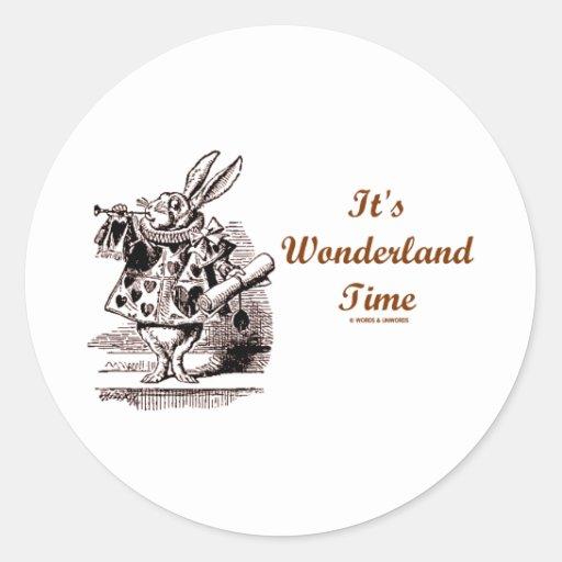 It's Wonderland Time White Rabbit With Trumpet Stickers