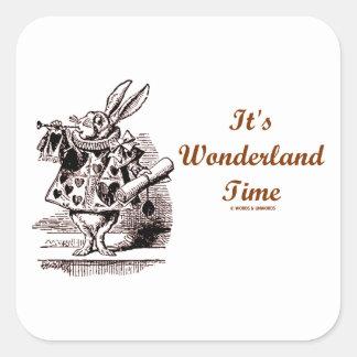 It's Wonderland Time White Rabbit With Trumpet Square Sticker