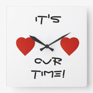 It's Your Time Red Heart Chic Wall Clock! Square Wall Clock