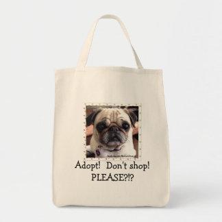 Itsy Pug Tote Bag: Adopt! Don't shop!