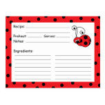 Itty Bitty Ladybug Red Recipe Card