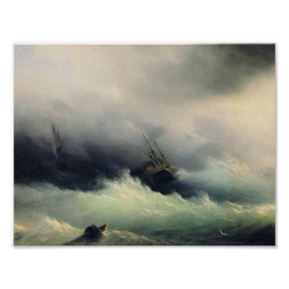 Ivan Aivazovsky- Ships in a Storm Poster