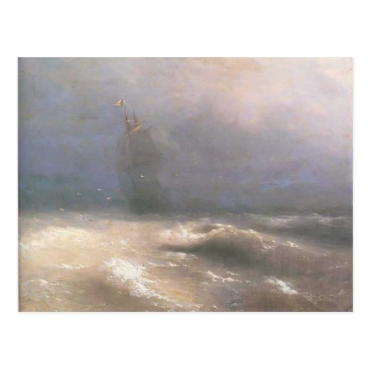 Ivan Aivazovsky- Tempest by coast of Nice Postcard