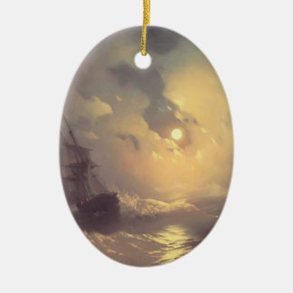 Ivan Aivazovsky- Tempest on the sea at nidht Ceramic Oval Decoration