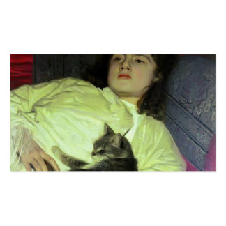 Ivan Kramskoy- Girl with aCat Double-Sided Standard Business Cards (Pack Of 100)