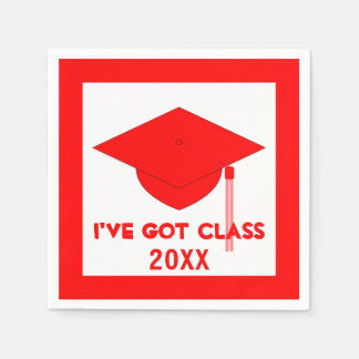 I've Got Class Red and White Napkins Disposable Serviettes