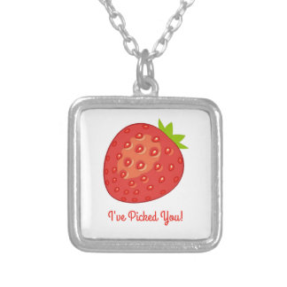 """""""I've Picked You!"""" Strawberry Necklace (Square)"""