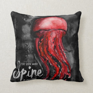 I've Seen More Spine in Jellyfish Watercolor Art Cushion