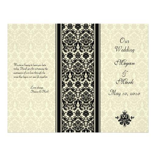 Ivory and Black Damask Wedding Program Full Color Flyer