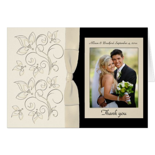Ivory and Black Floral Photo Thank You Card