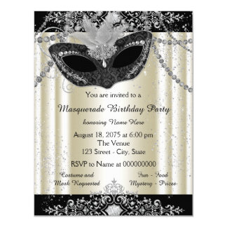 Ivory and Black Pearl Glitter Masquerade Party 11 Cm X 14 Cm Invitation Card