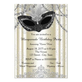 Ivory and Black Pearl Masquerade Party 13 Cm X 18 Cm Invitation Card