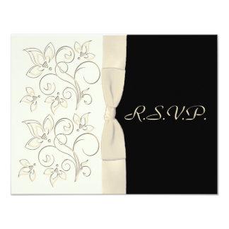 Ivory and Black R.S.V.P. Card Alternate 11 Cm X 14 Cm Invitation Card