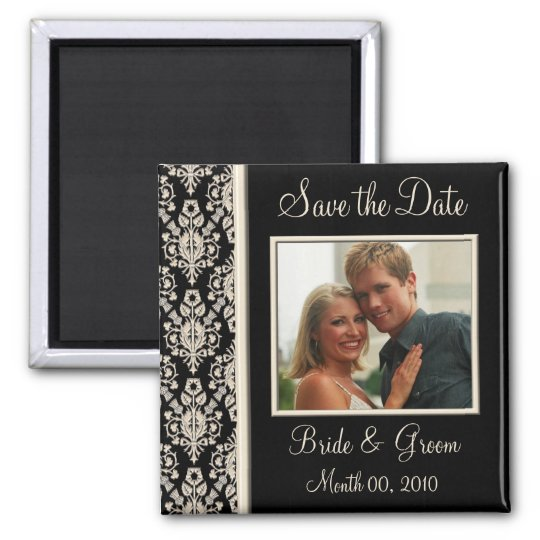 Ivory and Black Save the Date Photo Magnets