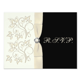 Ivory and Black with Pearl Love Knot Reply Card 11 Cm X 14 Cm Invitation Card