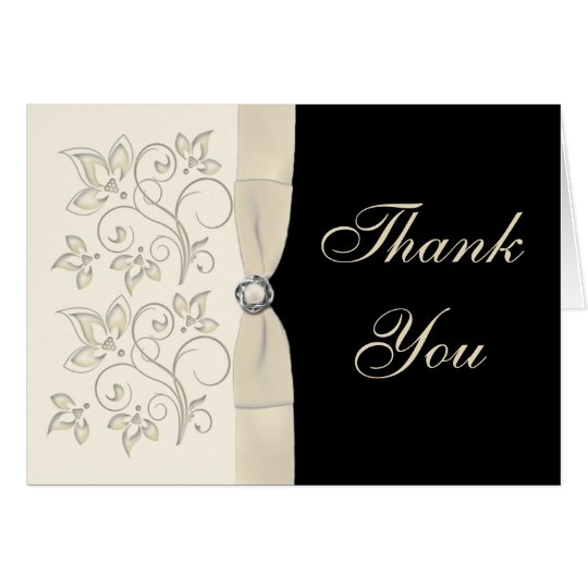 Ivory and Black with Pearl Loveknot Thank You Card