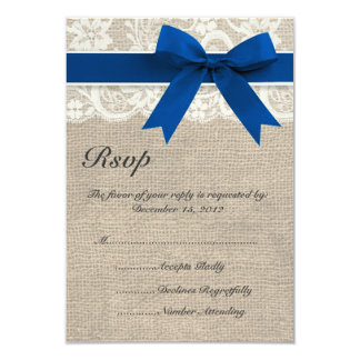 Ivory and Blue Lace and Burlap Wedding RSVP Card