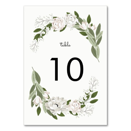 Ivory and Blush Wedding Sprigs Table Number