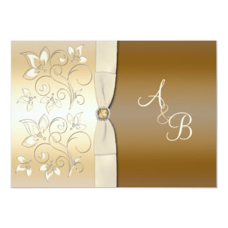 """Ivory and Bronze Floral Monogrammed Invitation 5"""" X 7"""" Invitation Card"""