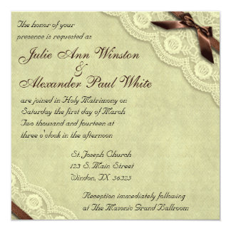 """Ivory and Brown Lace Vintage Wedding Invitation 5.25"""" Square Invitation Card"""
