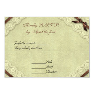 Ivory and Brown Lace Vintage Wedding RSVP 13 Cm X 18 Cm Invitation Card