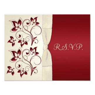Ivory and Claret RSVP Card 11 Cm X 14 Cm Invitation Card