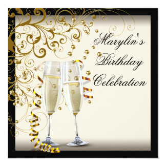 Ivory and Gold Birthday Party 13 Cm X 13 Cm Square Invitation Card