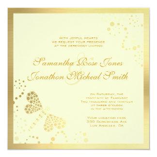 Ivory and Gold Dragonfly Pointilism Custom Wedding 13 Cm X 13 Cm Square Invitation Card