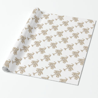 ivory and gold floral spray wedding wrapping paper