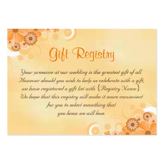 Ivory and Gold Floral Wedding Gift Registry Cards Pack Of Chubby Business Cards