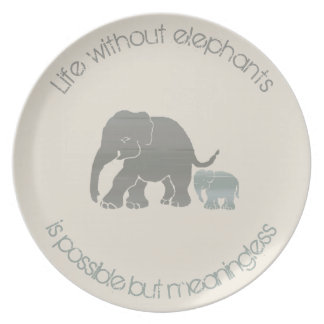 Ivory and Grey Inspirational Funny Elephant Slogan Dinner Plates