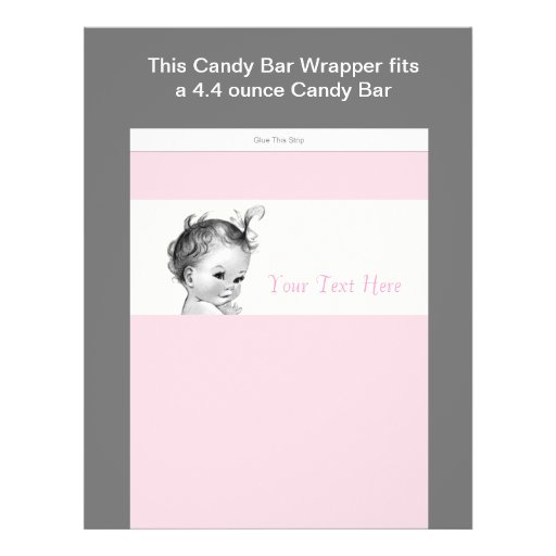 Ivory and Pink Baby Shower Candy Bar Wrapper Full Color Flyer