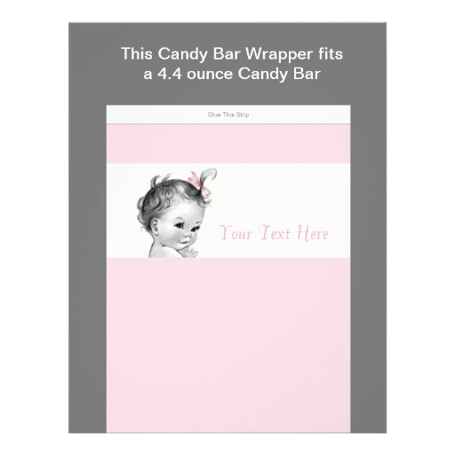 Ivory and Pink Baby Shower Candy Bar Wrapper Personalized Flyer
