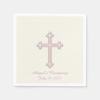 Ivory and Pink Cross Christening Paper Serviettes