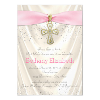 Ivory and Pink Cross First Communion Satin 11 Cm X 16 Cm Invitation Card
