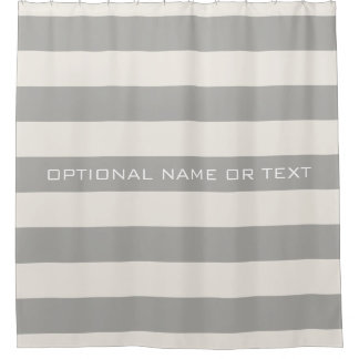 Ivory and Taupe Rugby Stripes with Optional Name Shower Curtain