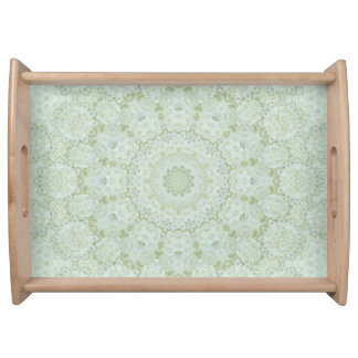 Ivory and White Rose Mandala Floral Kaleidoscope Serving Tray