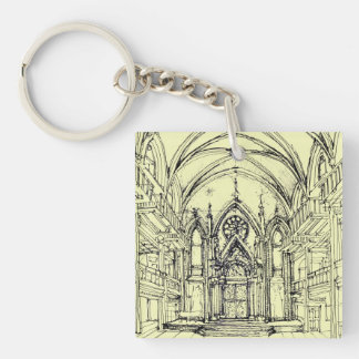 Ivory Angel synagogue Double-Sided Square Acrylic Key Ring