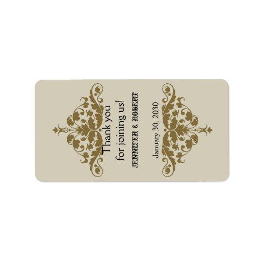 Ivory Black and Gold Damask Wedding Lip Balm Label