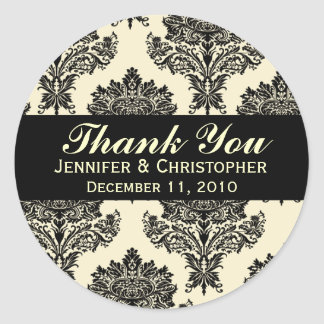 Ivory & Black Damask Round Wedding Labels