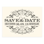 Ivory & Black Save the Date | Swirl and Flourish