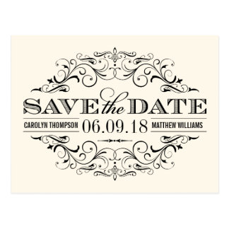 Ivory & Black Save the Date | Swirl and Flourish Postcard