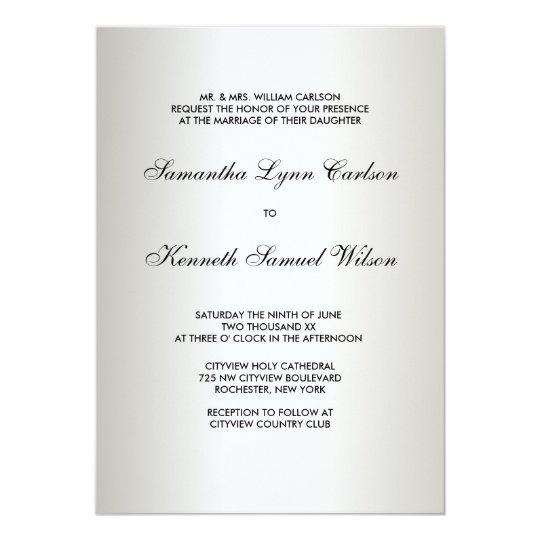 Ivory Black Tie Damask Wedding Invitations