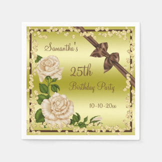 Ivory Blossom, Bows & Diamonds 25th Disposable Serviettes