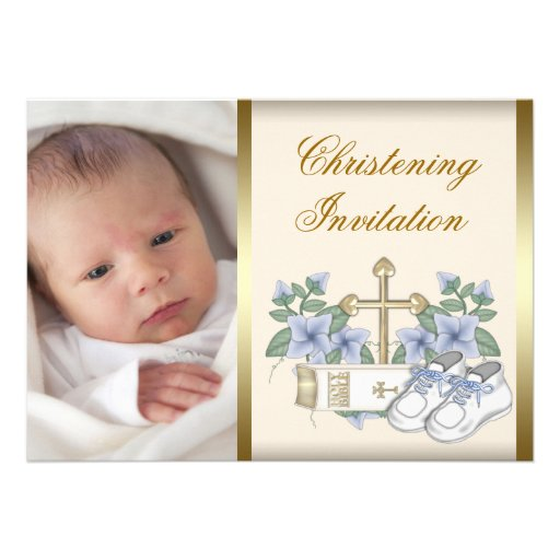 Ivory Blue Gold Baby Boy Photo Christening Invitat Personalized Announcements