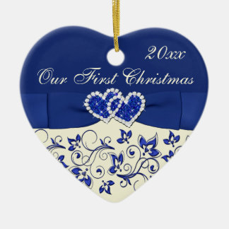 Ivory, Blue Our First Christmas Keepsake Ornament