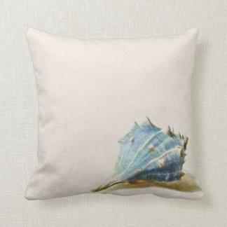 Ivory Blue Vintage Seashell Beach House Throw Pillow