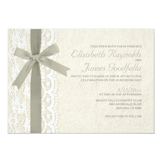 Ivory Bow & Lace Wedding Invitations
